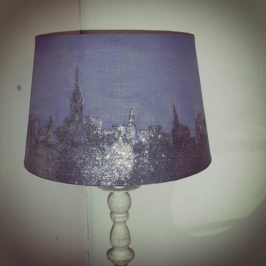 DIY Glitter New York Skyline Lamp Shade